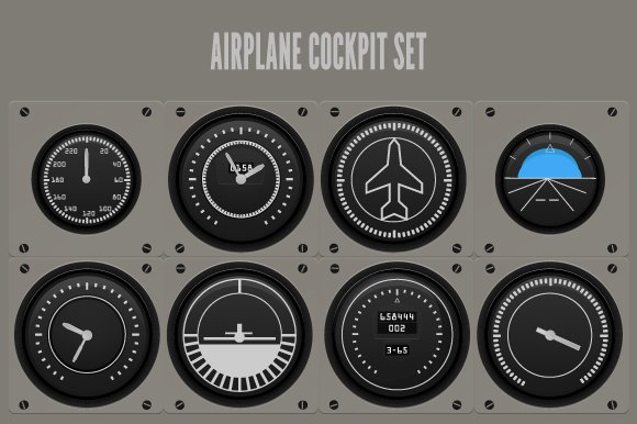 Airplane Cockpit Illustration Graphic Objects Creative