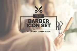 20 Barber Icons in 3 styles