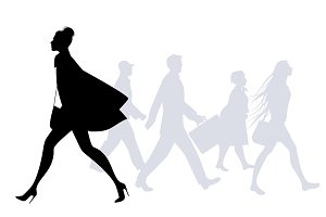 Silhouettes of people walking I