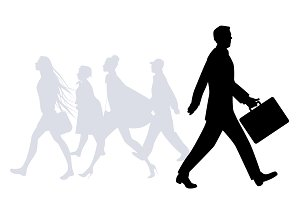 Silhouettes of people walking II