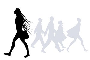 Silhouettes of people walking III