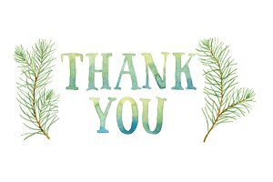 Thank You in pine branches wreath