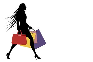 Silhouette of woman shopping I