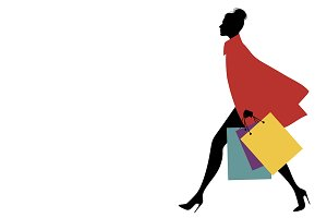 Silhouette of woman shopping II