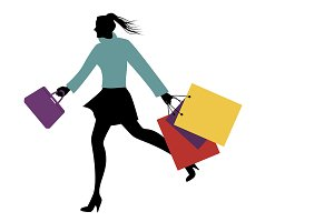 Silhouette of woman shopping III