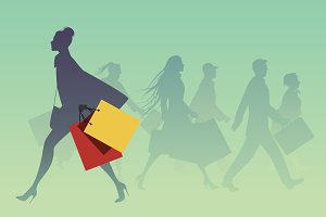 Silhouettes of people shopping I
