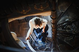Girl on the spiral staircase