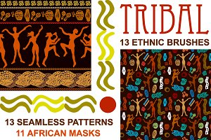 Tribal. Etnhic Brushes and Patterns