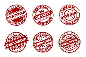 Red quality mark stamps
