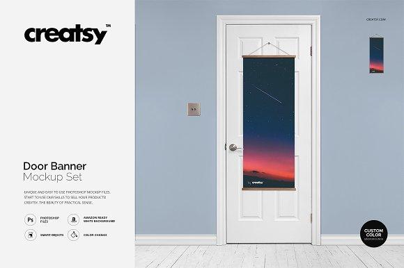 Free Door Banner Mockup Set
