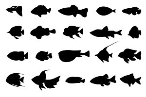 Fish silhouettes black on white