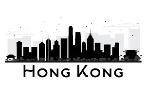 Hong Kong City skyline black