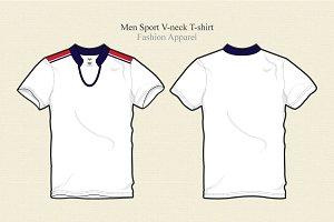 Men Sport V-neck T-shirt