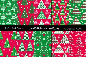 Green & Red Christmas Tree Patterns