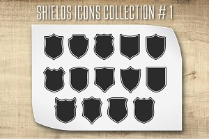 Shields with Сontours. Vector set #1