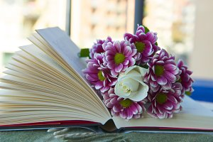 Beautiful flowers on the book