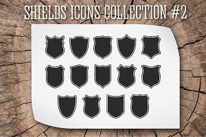 Shields silhouettes vector set #2