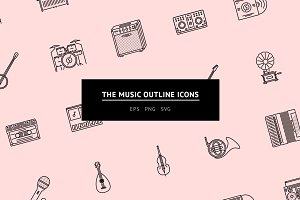 The Music Outline Icons 25