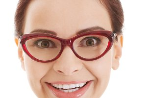 Portrait of beautiful woman in red eyeglasses.