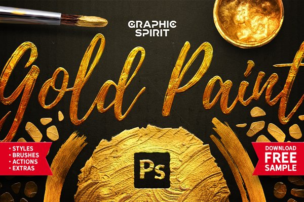Photoshop Layer Styles: Graphic Spirit - TOOLKIT Gold Paint Effect Photoshop