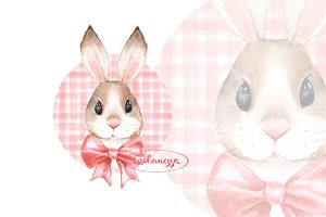 Bunny. Red bow. Watercolor