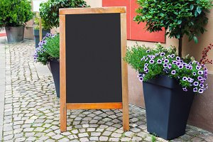 Blank menu blackboard on the street