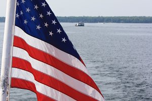 Flag on Ferry Boat