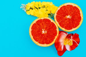 Grapefruit and Mixed Flowers
