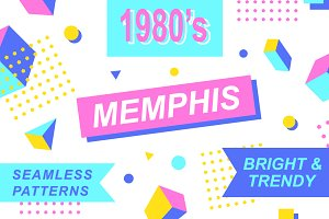 1980s Memphis Cool Seamless Patterns