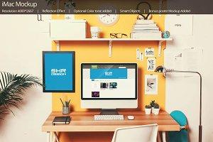 iMac Mockup (bonus Poster Mockup)