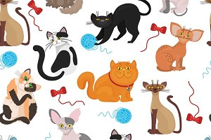 Fur cats pattern vector background