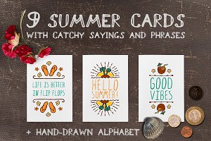 Hand-sketched summer cards