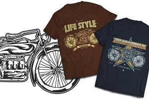 Motorbike T-shirts And Poster Labels