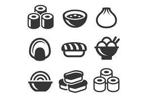 Japanese Sushi Food Icons Set