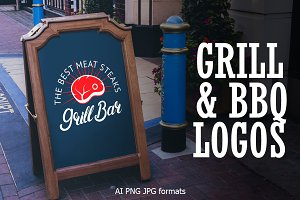 Barbeque & Grill bar vector logo set