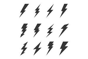 Bolt Lighting Flash Icons Set