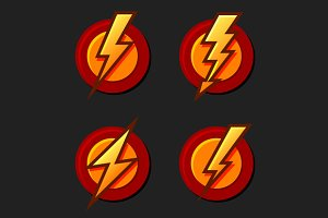 Lighting Bolt Icons Set