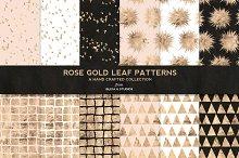 Rose Gold Leaf Digital Patterns