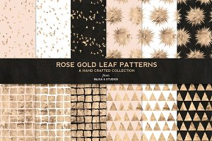 Rose Gold Leaf Digital Patterns