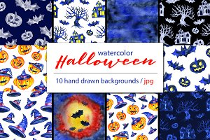 Watercolor Halloween backgrounds