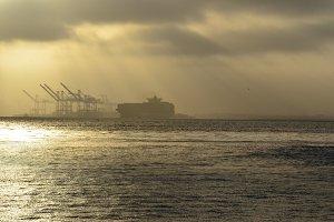 Silhouette Ship and Shipyard
