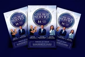 Church Service Flyer, Blue