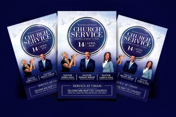 Church Service Flyer Blue