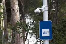 Security camera in a public park