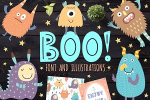 Boo! - Uppercase Font, illustrations