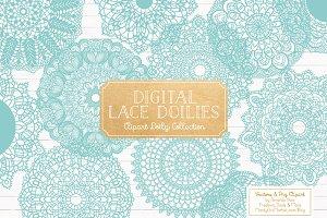 Aqua Doilies Clipart & Doily Vectors