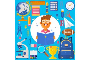 Back to school. Bag pupil or student. Training accessories pencils, pens, notebooks, ruler, stationery, textbooks. Vector Iillustration