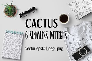 Outlined Cactus Seamless Pattern Set