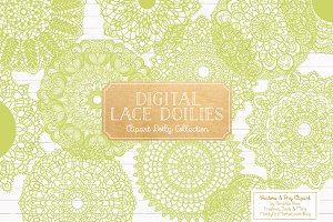 Bamboo Green Doilies - Vectors & PNG