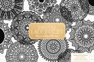 Black Lace Doily Clipart & Vectors